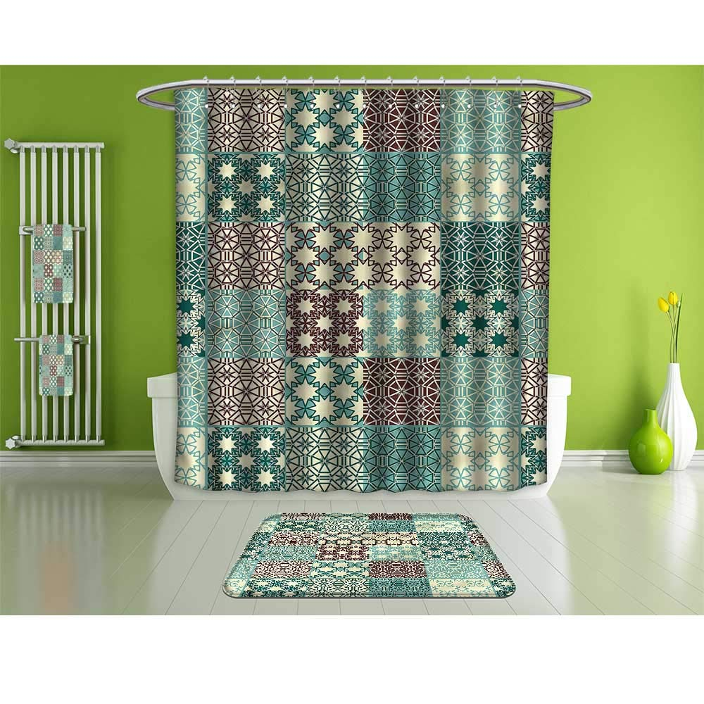 HoBeauty home Bathroom Set of Four,Moroccan,Ornate Patchwork Flower,Decoration and Daily use Multicolor.