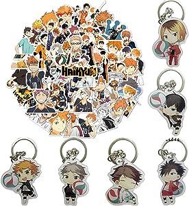 50pcs Anime Laptop Stickers 6pcs Keychains for Haikyuu