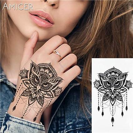 5Pc-1Pc Rose Appassite Tatuaggio Caldo Nero Bianco Grande Fiore ...