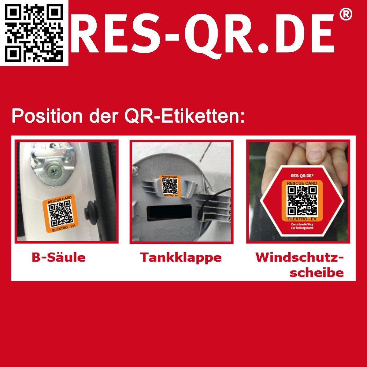 3 Etiketten plus Hinweisplakette Dacia Sandero Typ SD ab 2012 QR-Etiketten-Nachr/üst-Satz f/ür Zugang zur digitalen Rettungskarte