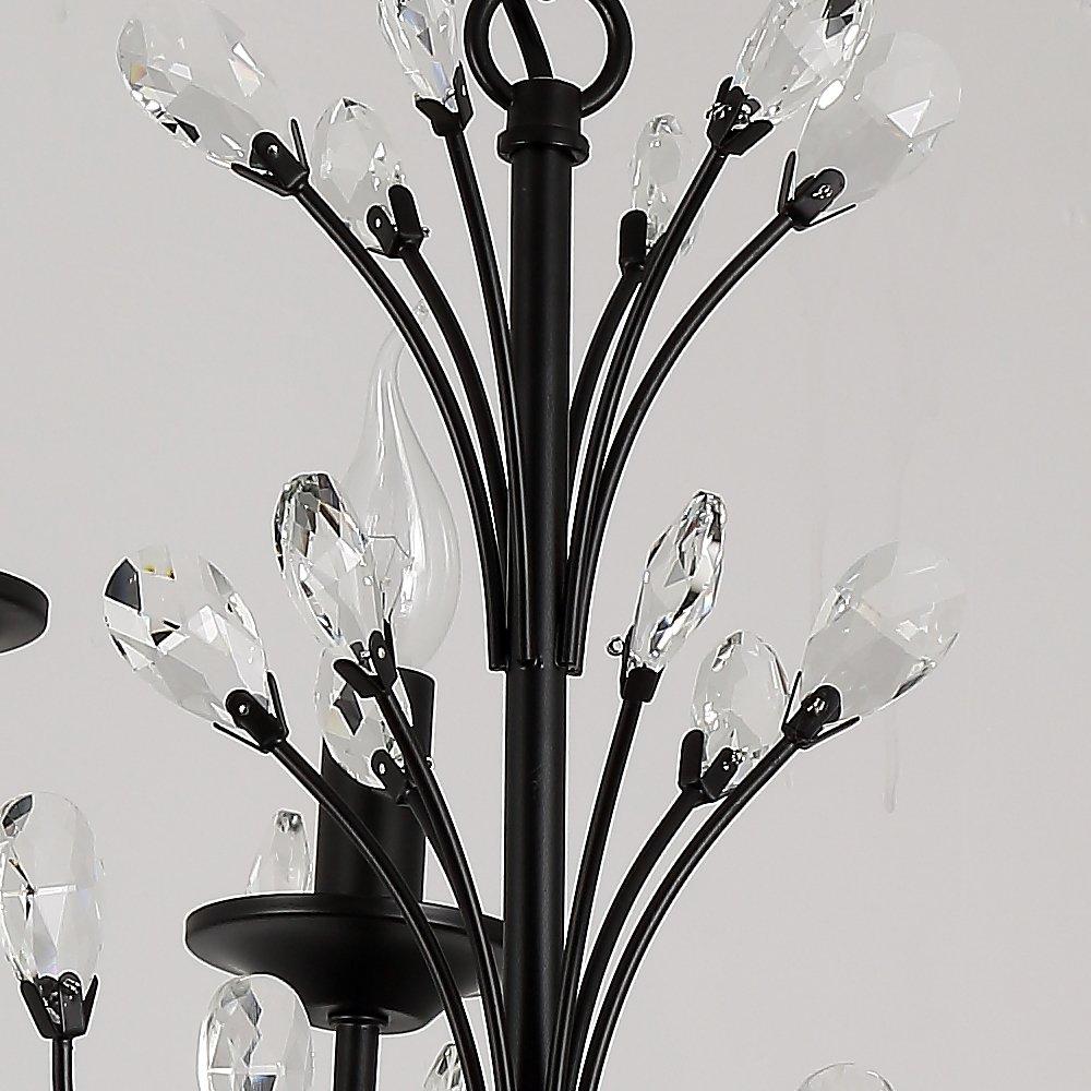 Lightmyself Elegant Simple Modern Black Metal Crystal Chandelier LM6632 12 Light