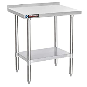 "DuraSteel Stainless Steel Work Table 24"" x 30"" x 34"" Height w/ 1.5"" Backsplash - Food Prep Commercial Worktable - NSF Certified - Fits for use in Restaurant, Business, Warehouse, Home, Kitchen, Garage"