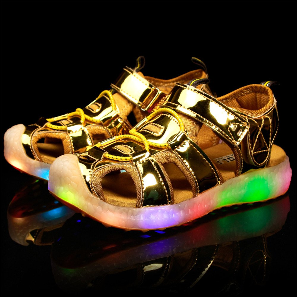 edv0d2v266 Kids Boys Girls USB Children LED Sandle Shoes with Light Glowing Luminous Sneakers(Gold 11.5 M US Little Kid) by edv0d2v266 (Image #2)