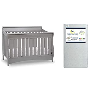 Delta Children Bentley S Series Deluxe 6-in-1 Convertible Crib, Grey + Serta Perfect Slumber Dual Sided Recycled Fiber Core Crib and Toddler Mattress (Bundle)