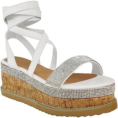 7fa78bdf619a Sky-Walker DF WOMEN-LADIES-PLATFORM-ANKLE-LACE-UP-CORK-ESPADRILLE-WEDGE- SANDALS-Size-3-8  Amazon.co.uk  Shoes   Bags