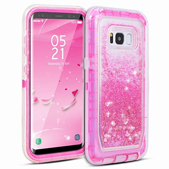 newest 39bcd 82fe5 Galaxy S8 Case, Dexnor Glitter 3D Bling Sparkle Flowing Quicksand Liquid  Bumper Clear 3 in 1 Shockproof TPU Silicone + PC Heavy Duty Protective ...