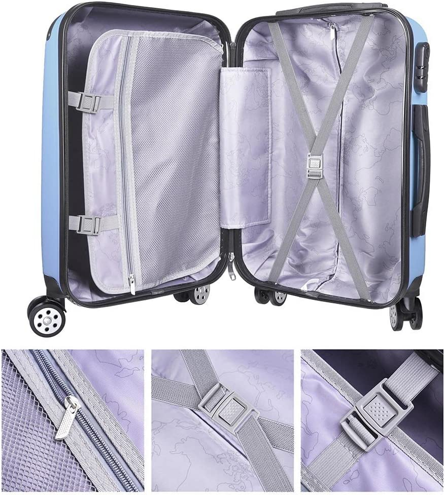 GHP Blue ABS Plastic Hard Shell Luggage Trolley Suitcase Bag with Rolling Wheels
