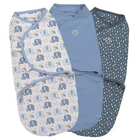 SwaddleMe ** 3er SparPack - Original Swaddle ** Pucksack / Schlafsack für unruhige Babys und Schreibabys (Small - Elephant Sp