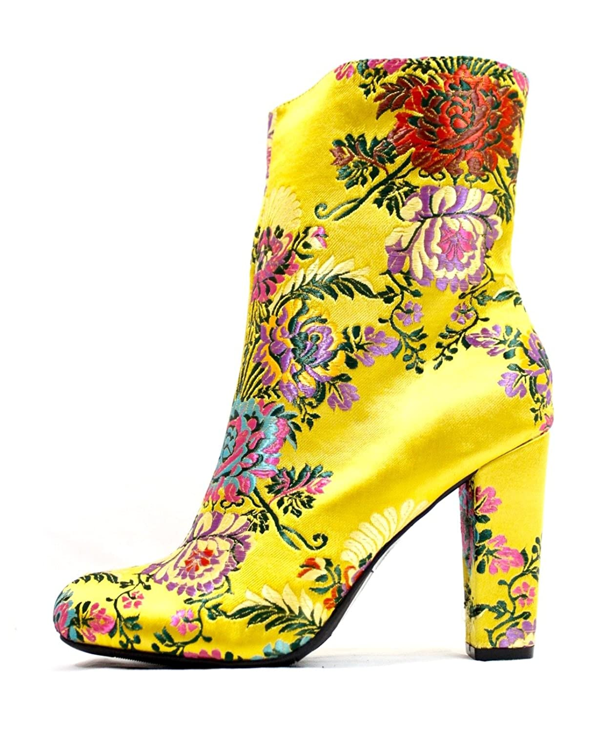 Floral Brocade Embroidered Round Toe Chunky Heel Mid-Calf Boots
