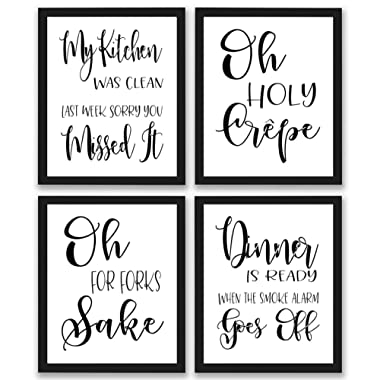TheNameStore Kitchen Quotes and Sayings Art Prints | Set of Four Photos 8x10 Unframed | Great Gift for Kitchen Decor Kitchen Pictures or Kitchen Wall Art