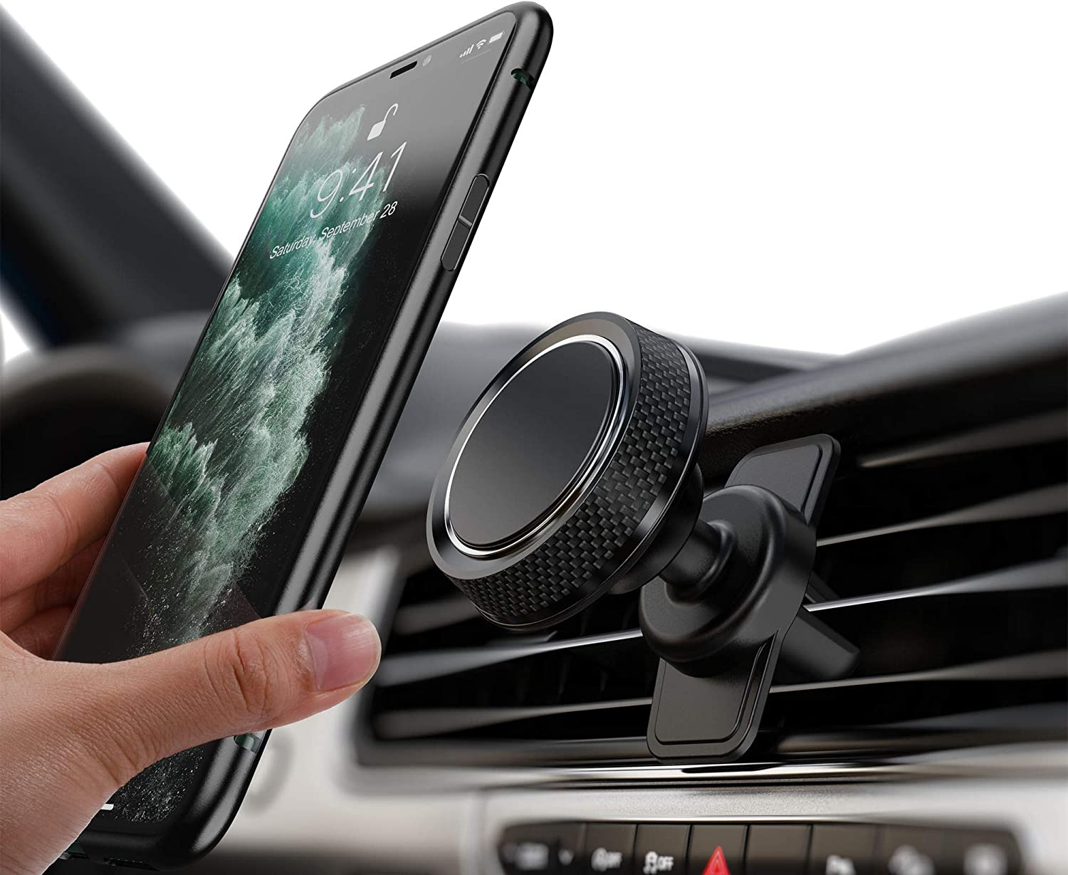 Huawei and More Circular-Silver Magnetic Cell Phone Holder for Car,Car Phone Holder 360/° Rotation from Dashboard Universal Magnetic Car Mount for Cell Phone GPS Apple iPhone,Samsung Galaxy HTC,LG