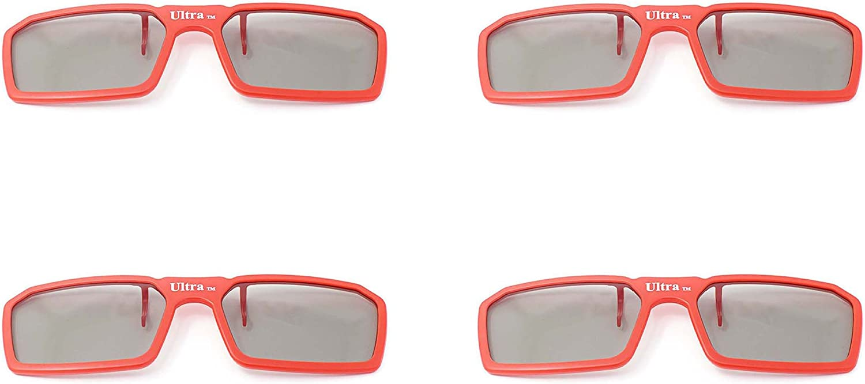 4 pares de Clip estándar nuevo 3D pasivo Universal rojo gafas ...