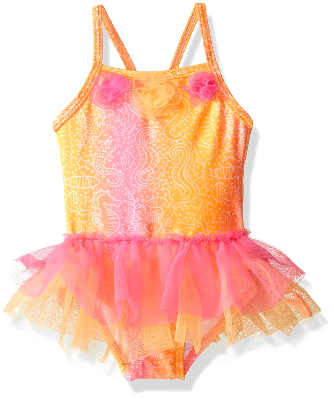 Candlesticks Baby Girls Pink Batik Print One Piece Swimsuit