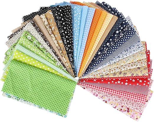 FOGAWA 50 PCS Tela de Algodón Tela Patchwork Costura Manualidades DIY 25 x 25 CM Tela de Flores Patrón Floral de Costura de Material Textil Manualidades Retales Algodón para Coser DIY Bricolaje: