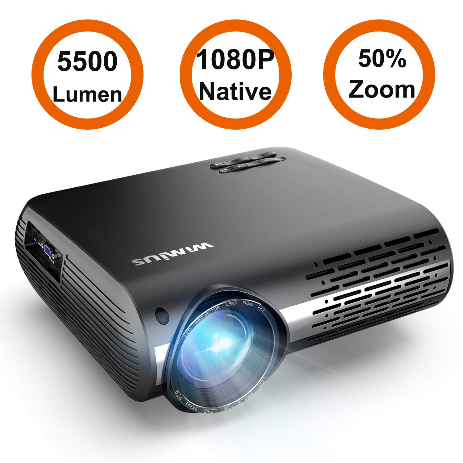 Projector, WiMiUS P20 Native 1080P LED Projector 5500 Lumen Movie Projector Support 4K Video Zoom Function ±50°Digital Keystone Correction 70,000 Hrs for Home Entertainment & PPT Business Presentation by WiMiUS