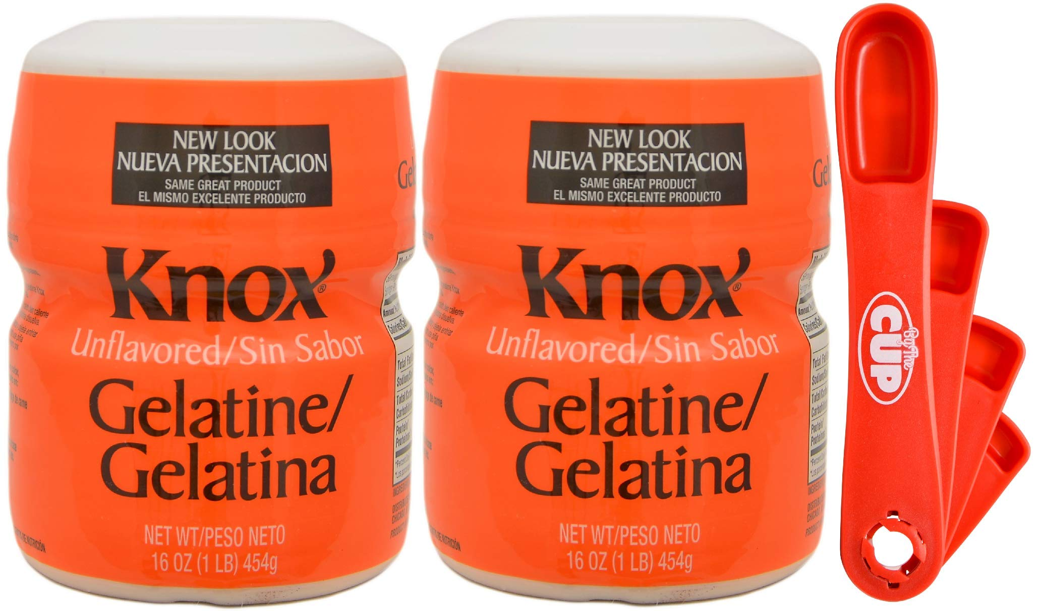 Knox Gelatin Unflavored Clear, Bulk 16 Ounce (Pack of 2) - with Measuring Spoons