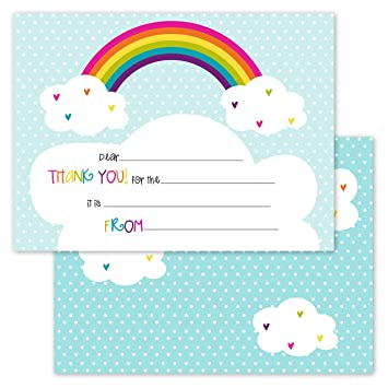 amazon com rainbows and hearts kids thank you note card pack set