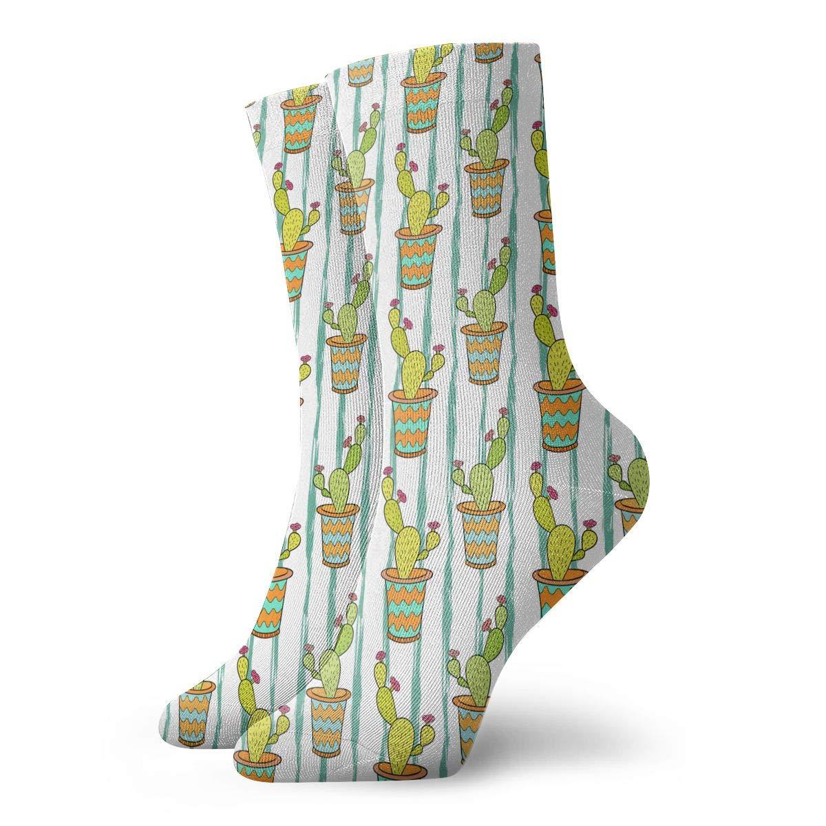 Unisex Cactus Colorful Cartoon Flowers Athletic Quarter Ankle Print Breathable Hiking Running Socks