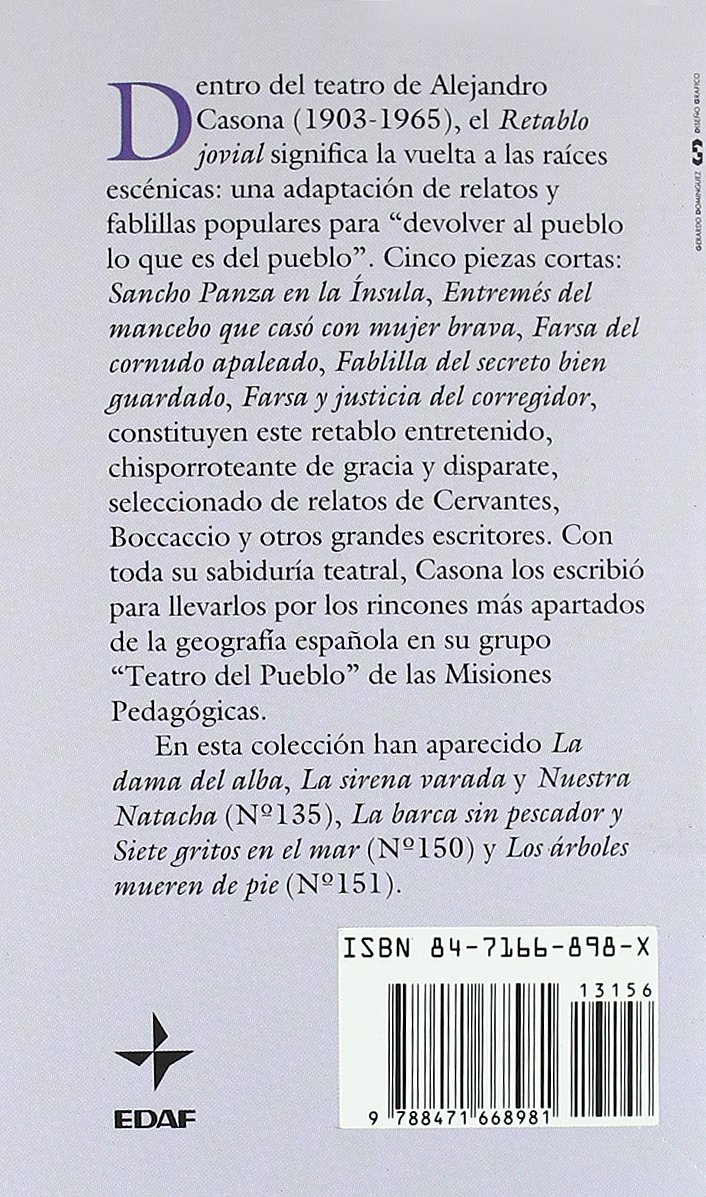 Retablo Jovial (Biblioteca Edaf De Bolsillo): Amazon.es: Casona ...