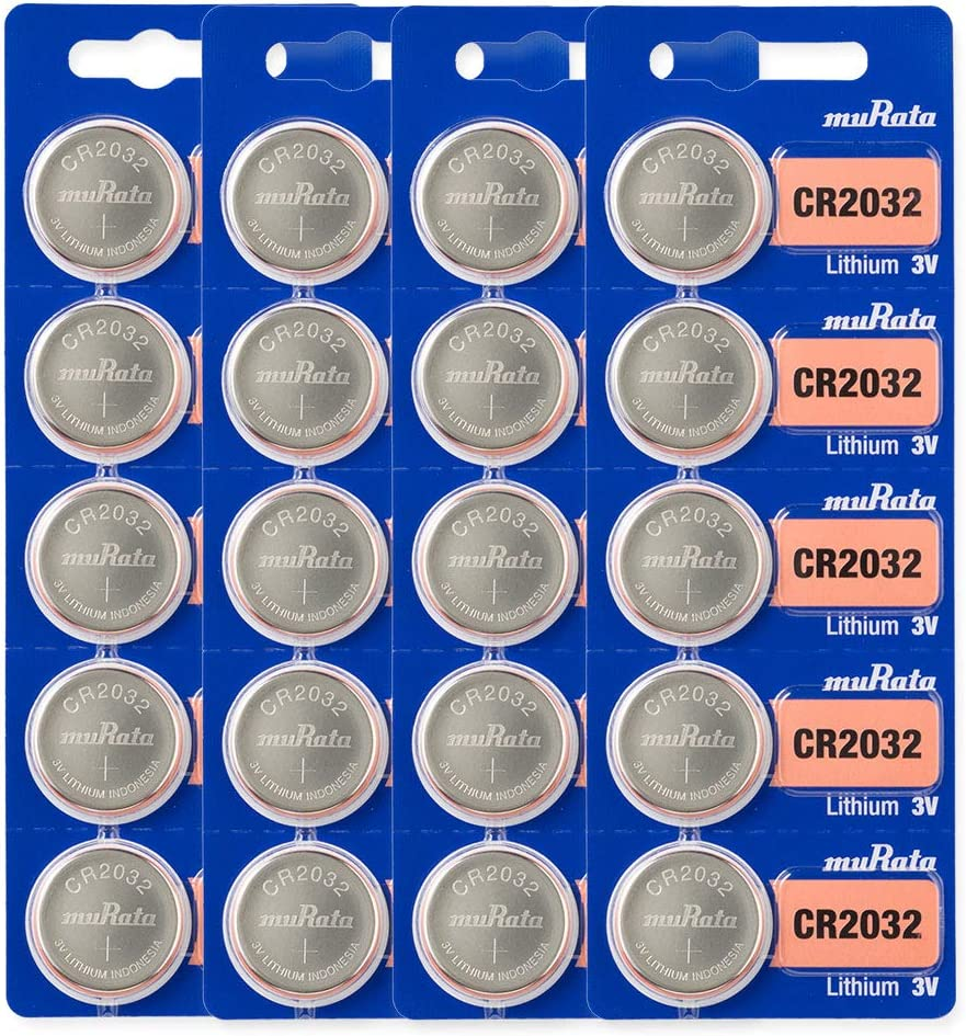 Murata CR2032 Battery 3V Lithium Coin Cell - Replaces Sony CR2032 (20 Batteries)