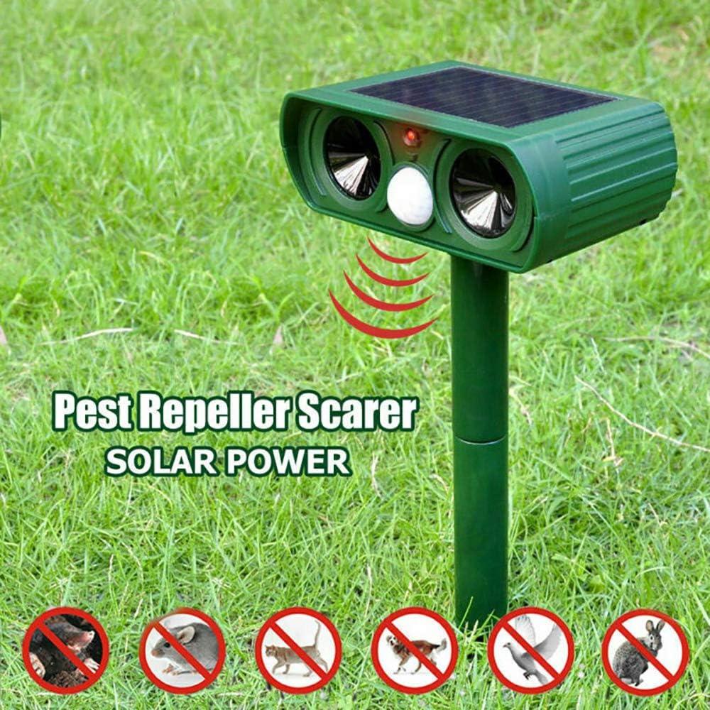 MASO Animals Repeller Solar Power Ultrasonic, Activated Waterproof Cat Dog Repellent Deterrent for Outdoor Home Garden