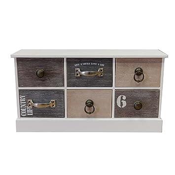 Badezimmerschrank Schubladen : Schrank mit 6 Schubladen 21 5x40x11cm Holz Schränkchen Vintage