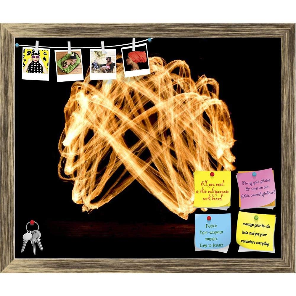 ArtzFolio Fire Show 2 Printed Bulletin Board Notice Pin Board cum Natural Brown Framed Painting 14.3 x 12inch
