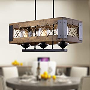 """LALUZ 3 Lights Farmhouse Pendant Lighting Fixtures in Rustic Wood and Painted Black Metal Finish with Hemp-Ropes, 24"""" Medium Kitchen Ceiling Light, A03144"""