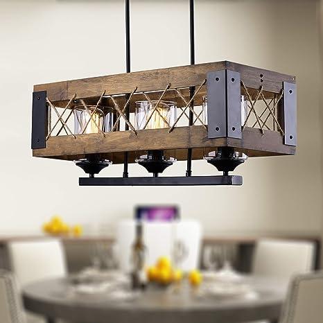Laluz 3 Lights Farmhouse Pendant Lighting Fixtures In Rustic Wood