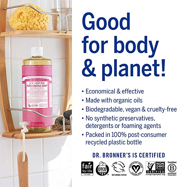 Dr Bronner Rose Castile Liquid Soap 1000ml - DRB-0747: Amazon.es ...