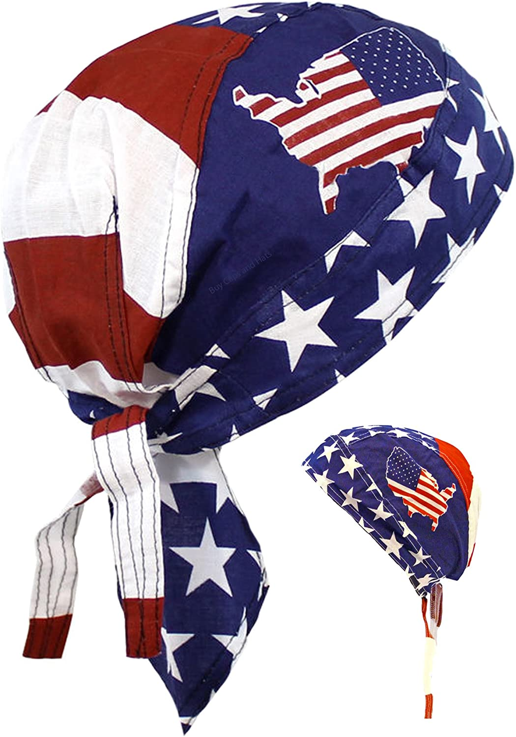 AMERICAN FLAG with American Made Cotton Fabric Mens Dorag or Womens Do Rag Spend 50 bucks get Free Shipping use code SPEND50
