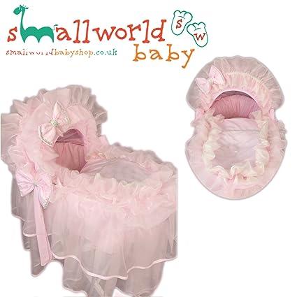 Funda personalizada para cesta de musgo con diseño de flores, color rosa