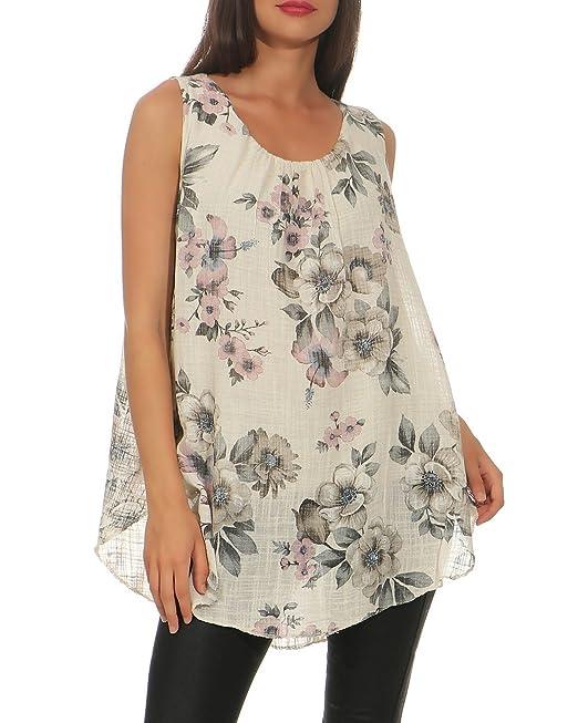 Zarmexx Blusa de Mujer Blusa sin Mangas con Estampado de Flores y Túnica de Verano A