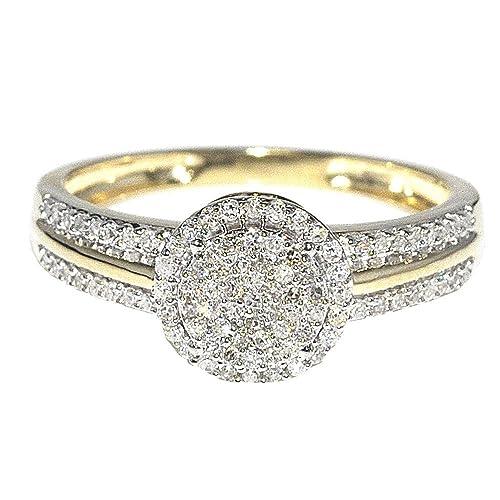 Amazon.com: Anillo de compromiso, casamiento, de diamantes ...