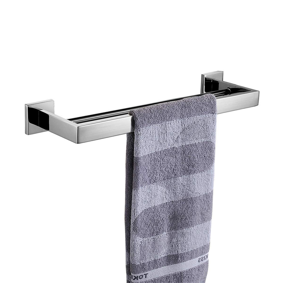 Flybath Towel Rail Short Single Layer 304 Stainless Steel Mirror Shine Bright Silver Towel Holder Wall Screws Mounting Towel Bar, 40 cm/15.7 inches