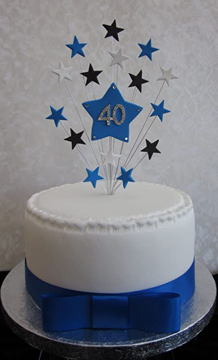 40th Birthday Cake Topper Blue Black And White Stars Suitable For A