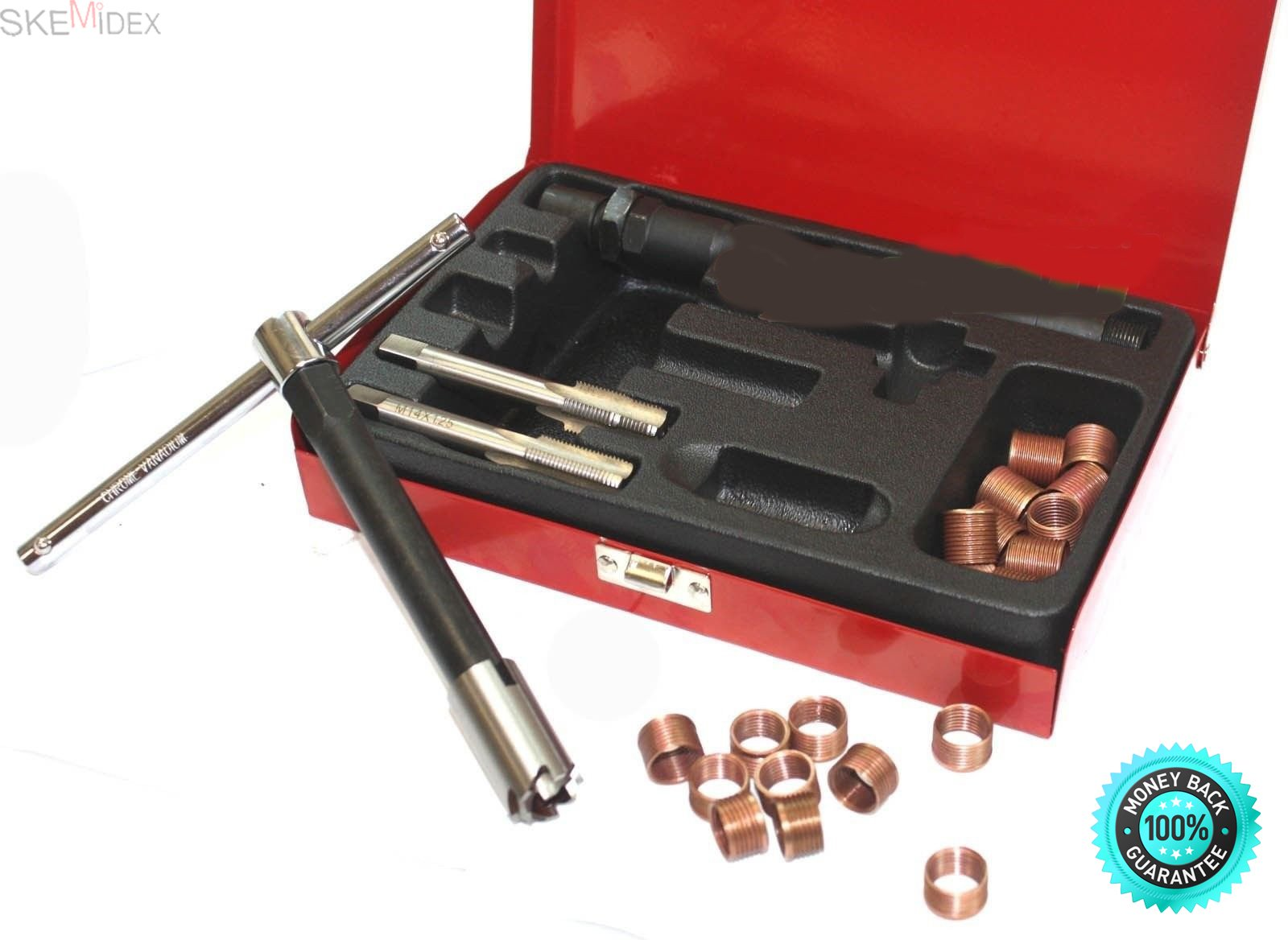 SKEMiDEX---26pc Spark Plug Thread Repair Kit M14 x 1.25 w/ Metal Case. Tap Ensures Correct Alignment of Cutter In Existing Spark Plug Hole Extension Tools