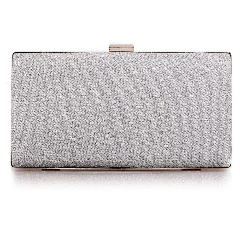 Womens Vintage Envelope Clutch Silver Evening Handbag For Cocktail/Wedding/Party (Silver)