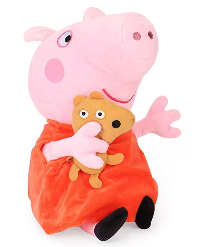 Peppa Pig with Bear Plush, Multi Color (30cm) Plush Animals & Figures at amazon