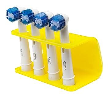 Seemii - Soporte para cabezales de cepillo de dientes electrónico, Soporta 2 ó 4 cabezales, Soporte Oral-B cabezales, Amarillo limón (4): Amazon.es: Hogar