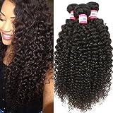 B&P Hair Brazilian Virgin Curly Hair Weave 3 Bundles 100% Unprocessed Brazilian Human Hair Extensions Natural Color 95-100g/pc