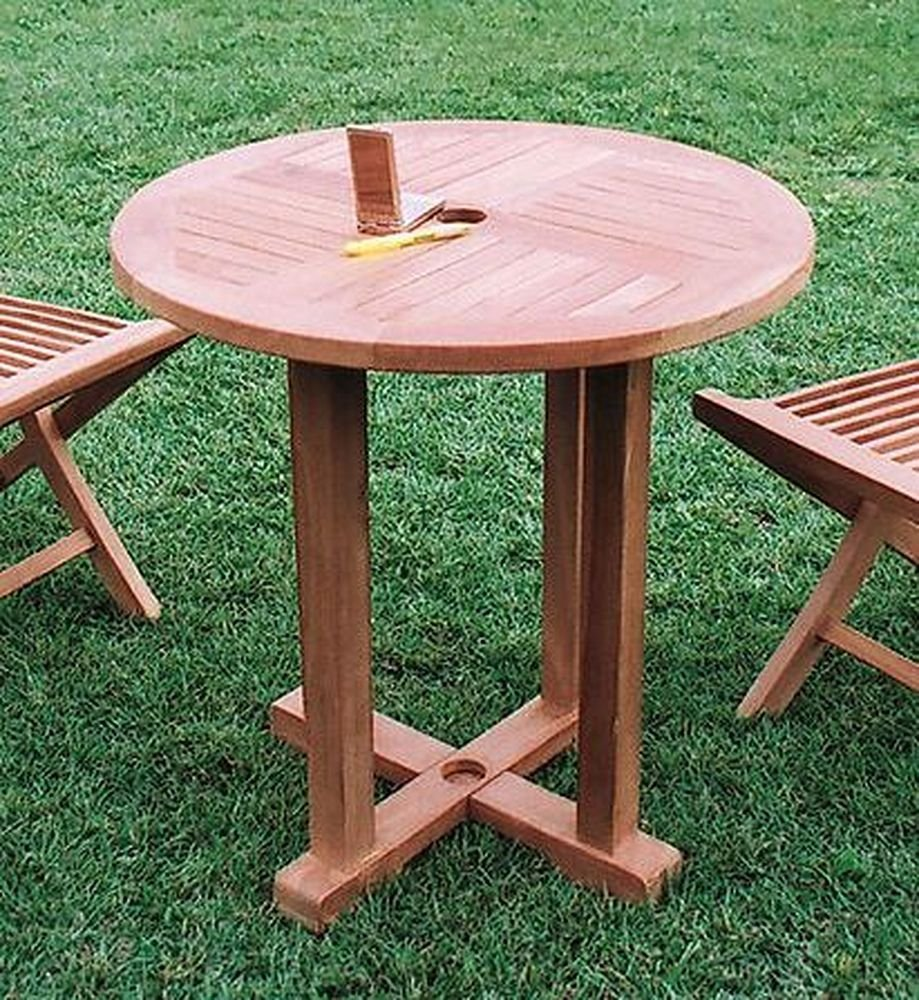 Jarbis 天然木無垢材 ガーデンテーブル 丸テーブル0808 材質:チーク 色:無塗装 B07B6VKJFR