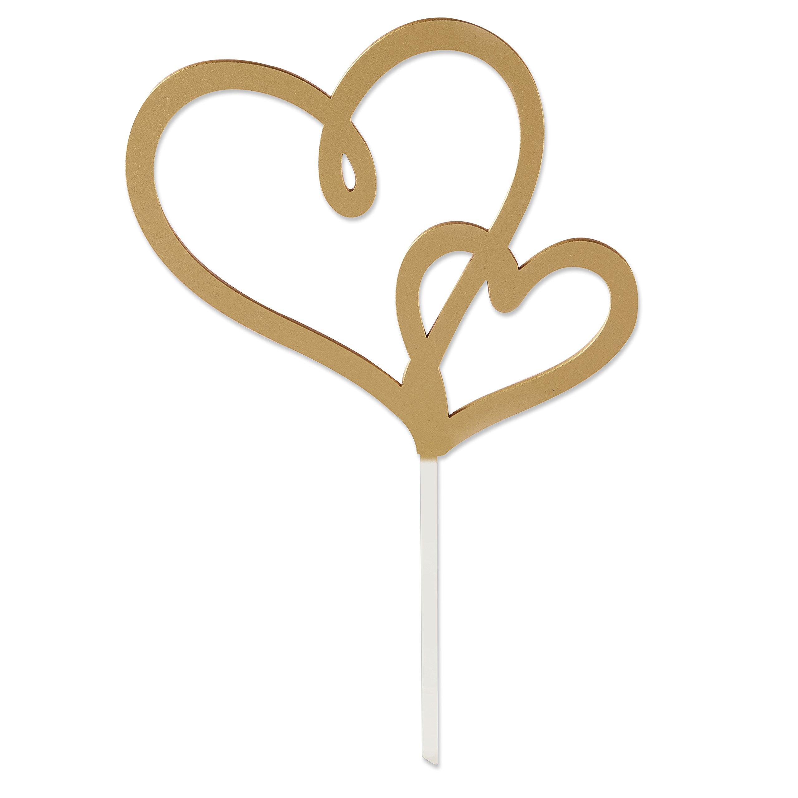 12 Gold Double Heart Cake Toppers