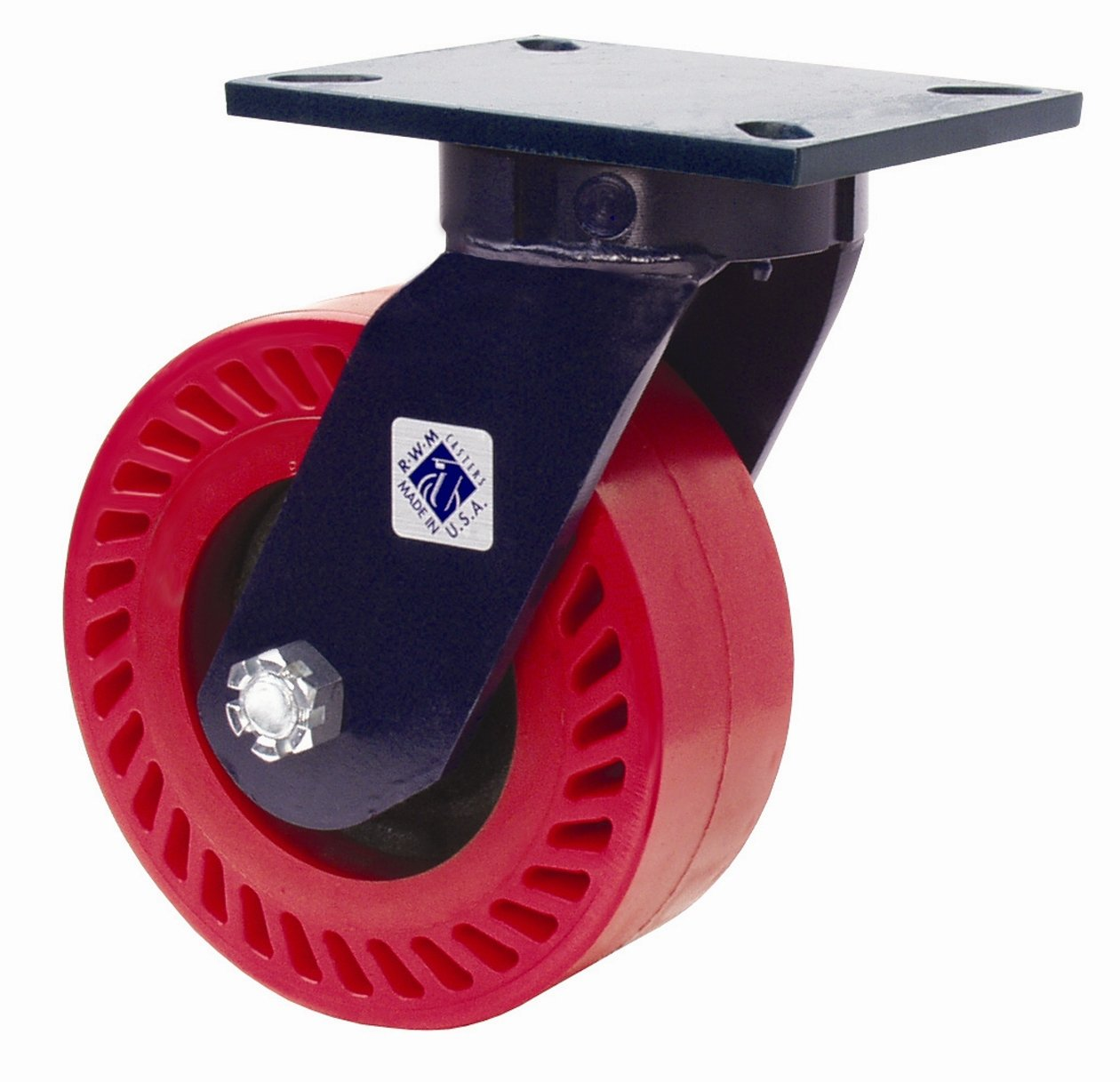 RWM Casters 76 Series Plate Caster, Swivel, Kingpinless, Steel Wheel, Tapered Roller Bearing, 5500 lbs Capacity, 8'' Wheel Dia, 3'' Wheel Width, 10-1/2'' Mount Height, 7-1/4'' Plate Length, 5-1/4'' Plate Width
