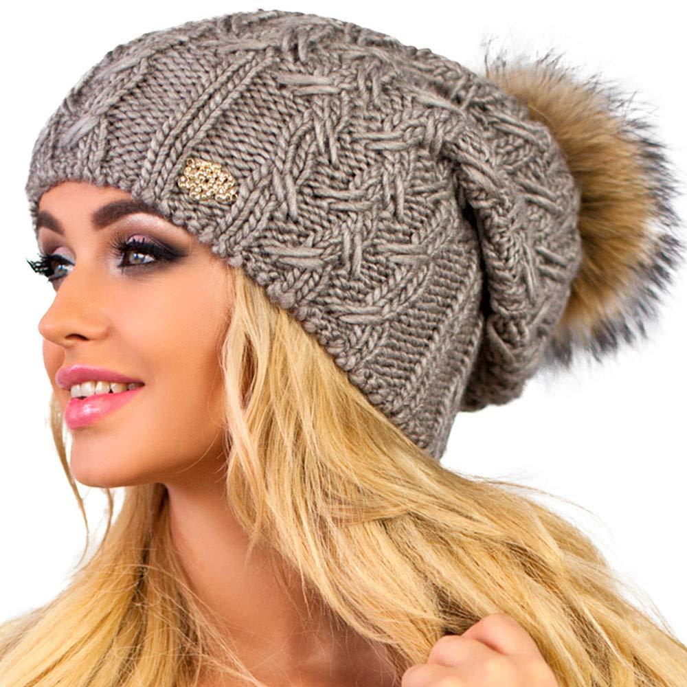 3e0a4bbcb71 Braxton Hats Winter Beanie for Women with Raccoon Fur Pom-pom ...