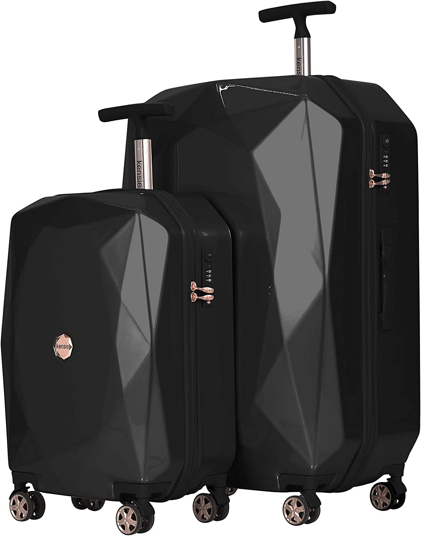 kensie Women's 3D Gemstone TSA Lock Hardside Spinner Luggage, Black, 2 Piece Set (28