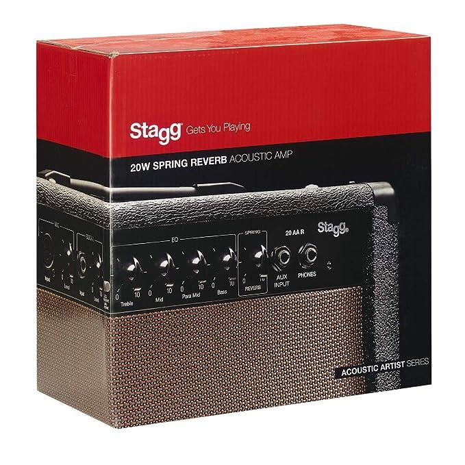 Stagg Stagg - Amplificador para guitarra acústica (20W, 3-Band EQ), color marrón: Amazon.es: Instrumentos musicales