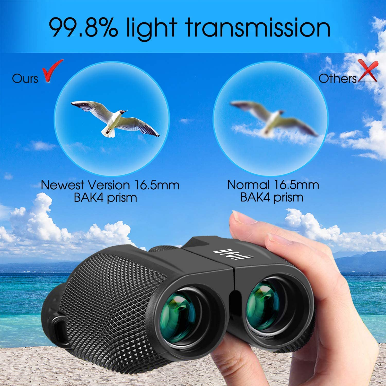 BFULL10x42 HD Compact Binoculars for Adults Teenager with 21mm Large View BAK4