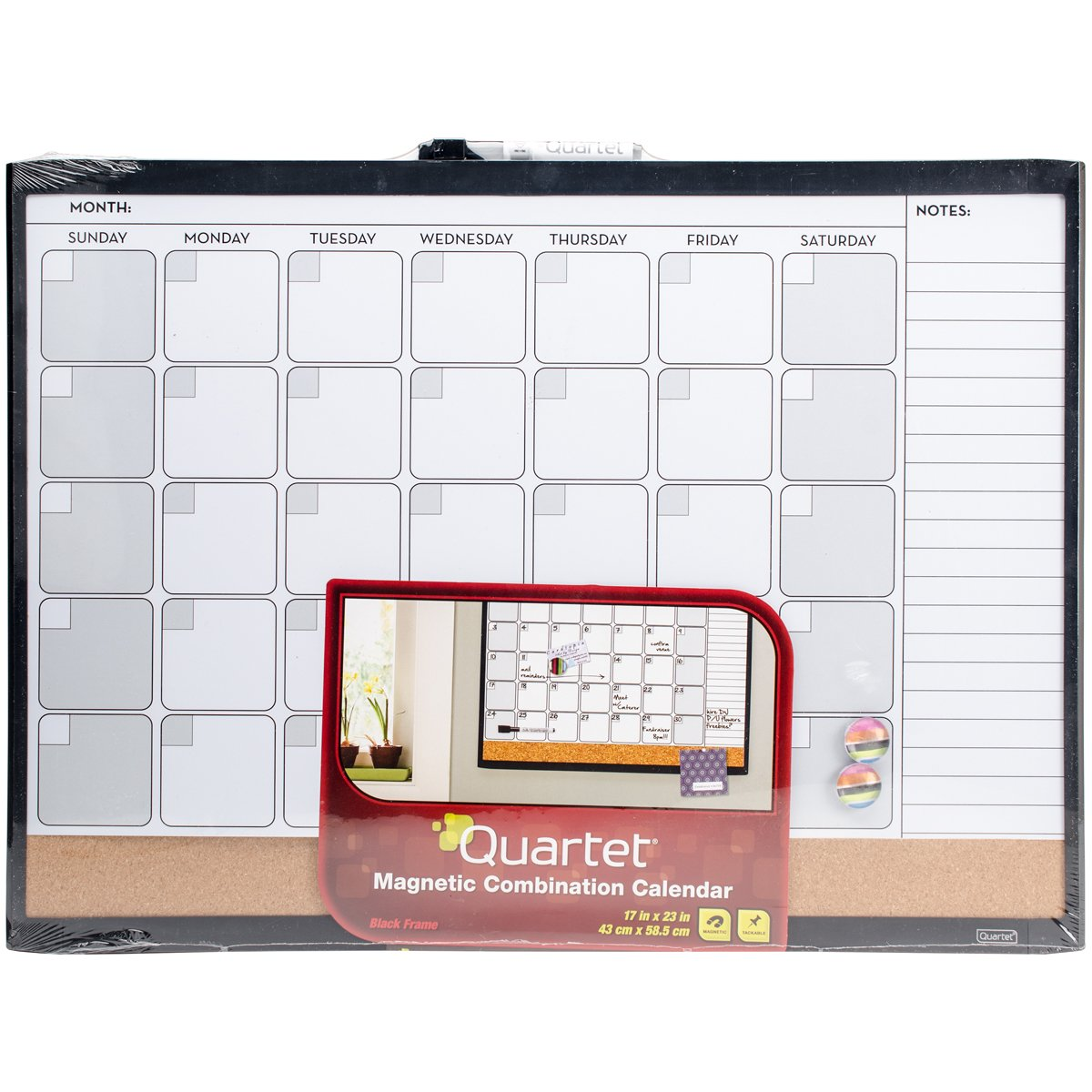 Quartet Dry Erase Board/Cork Board, Calendar Board, Magnetic, 17'' x 23'', 1-Month Design with List, Black Frame (79380-WM)