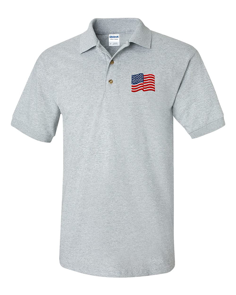 American Flag Custom Personalized Embroidery Embroidered Golf Polo